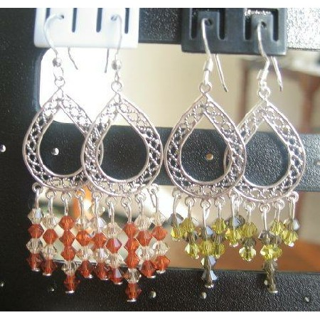 Peridot & Olive Crystals Silver Earrings w/ Orange Crystals Earrings