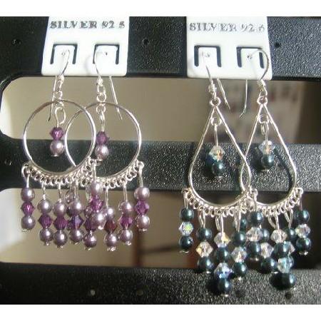 Swarovski Cryrstals & Pearls Chandelier Earrings