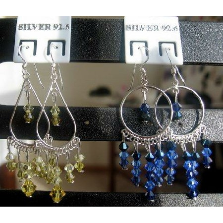 Lime Shaded Crystals w/ Sapphire Crystals Earrings