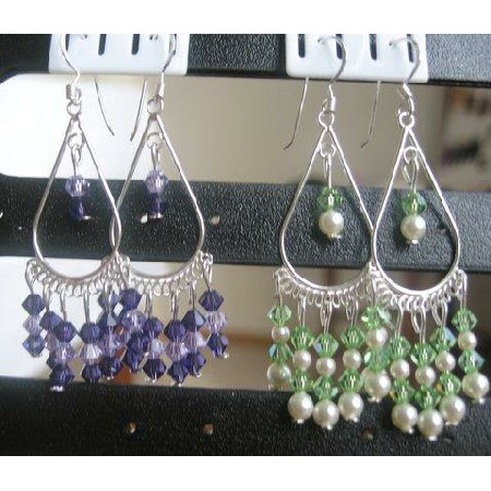 Handmade Silver Earrings Peridot Pearls Earrings w/ Amethyst Crystals