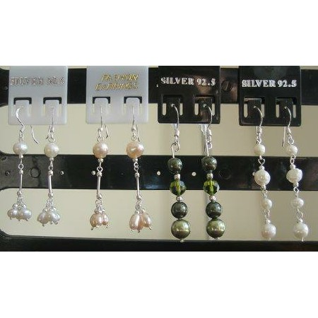 Swarovski Pearls Earrings in Sterling 92.5 Stamped