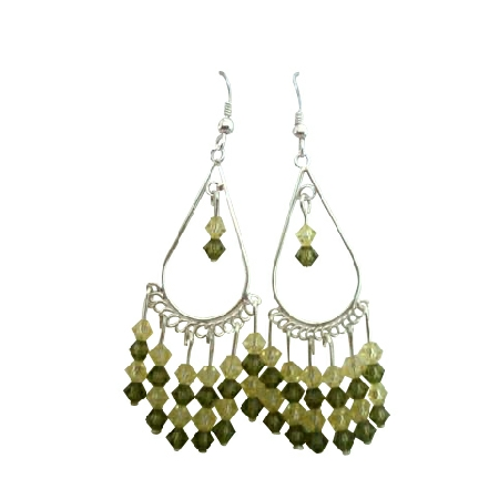 Sterling 92.5 & Swarovski Khakhi Crystal Earrings