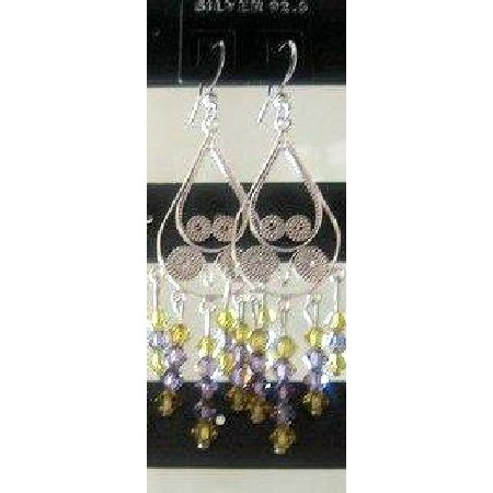 Swarovski Lime & Purple Crystal Sterling Silver Chandelier Earrings