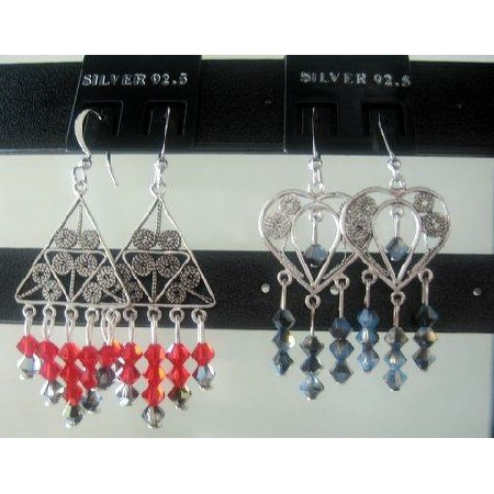 Handcrafted Swarovski Crystals Dangling Earrings