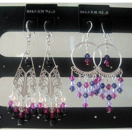 Mystic Pearl & Crystals Purple Violet & Fuchsia Pure Silver Earrings