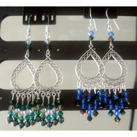Sapphire & Emerald Crystals Chandelier Earrings Sterling Silver Frame