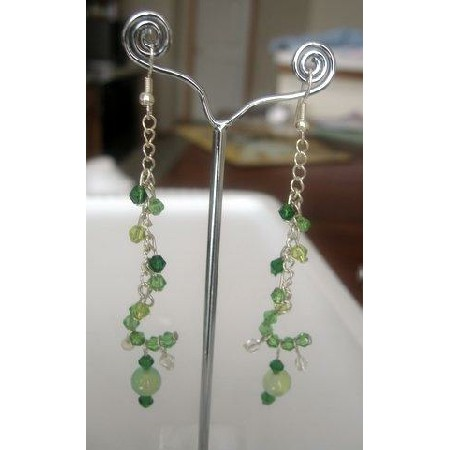 Sterling Silver Cascade Chain Green Peridot Dangle Crystals Earring