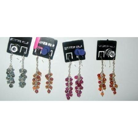 Sterling Silver Drop Earrings w/ Semi Precious Beads Dangling Earrings