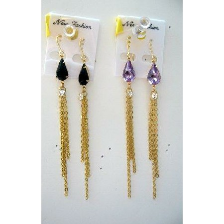 Simulated Crystals chain link Dangle Earring in Gold chain