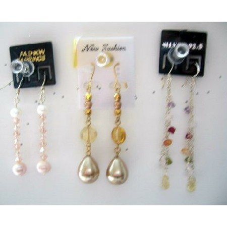 Assorted Earrings in High A Grade w/ Crystals silver & gold