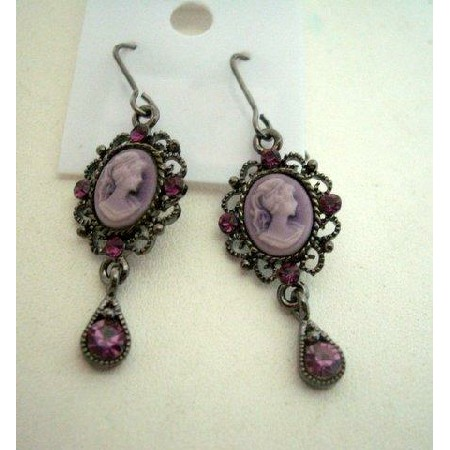 Oxidized rodium CAMEO VICTORIA of Earring