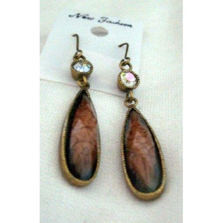 Artisan Earring in antique plated w/ Brown Agate