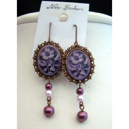 Victoria Earrings in Copper Frame & Artform Designer Flower in Purple