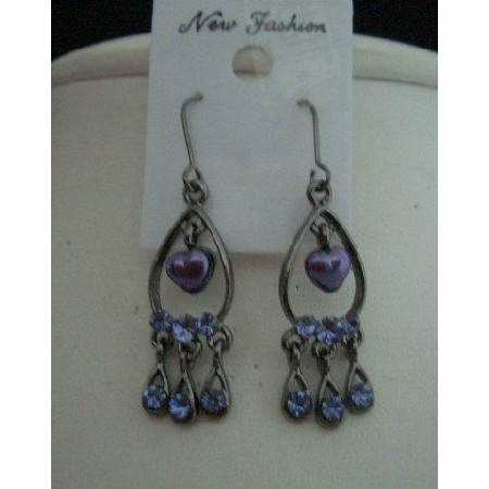 Oxidized Earrings Amethyst Crystals & Cultured Pearls Heart Dangling