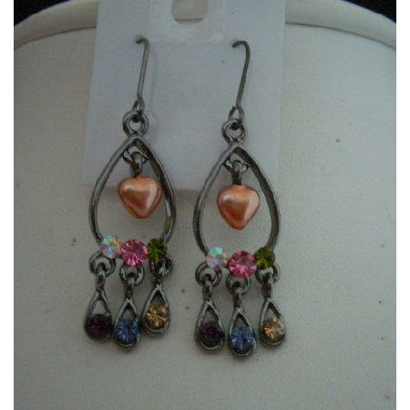 Heart Vintage Earring in Rodium Oxidized cultured heart Peach Pearls