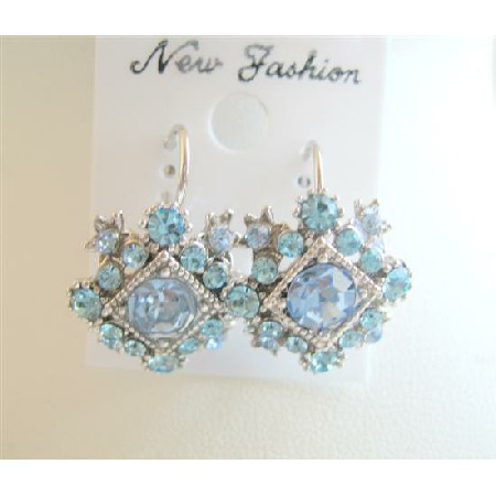 Vintage Acquamarine Cubic Zircon Earring In Diamond Shape w/ Blue CZ