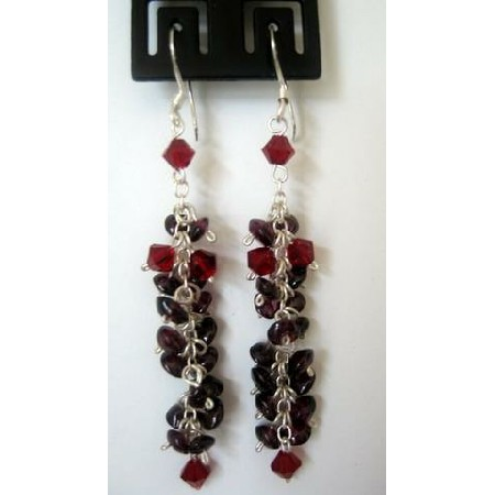 Sterling Silver Chandelier Earrigns Garnet & Siam Red Crystals Beads