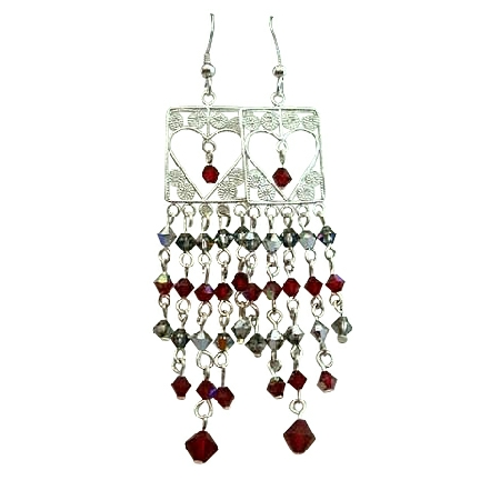 Sterling Silver Dangling w/ Siam Red Crystals Bicone 4mm