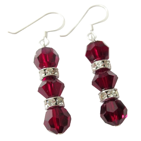 Handmade Earrings w/ Siam Red Crystals Balls & Silver Rondells