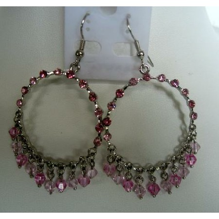 Pink Sparkling Crystals Chandelier w/ Dangling & Clip-On Earrings