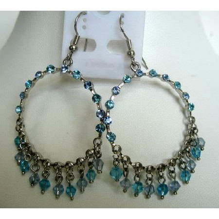 Aquamarine Crystals Round Chandelier w/ Dangling & Clip-On Earrings