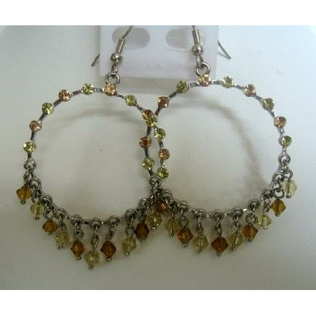 Lime & Smoked Breathless Clear Crystals Chandelier Clip-On Earrings