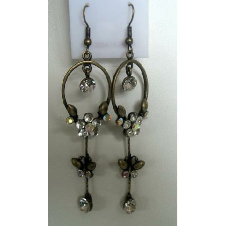 Beautiful Ethnic Hoop Earrings Simulated Gold Plated Antique w/ CZ