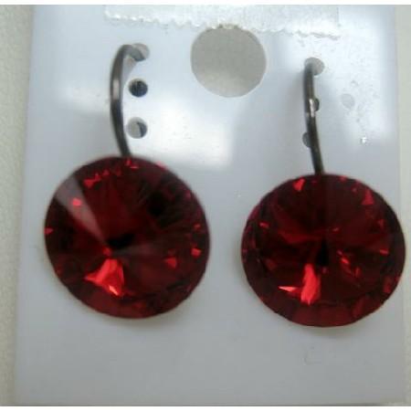 Sign Of Romantic Red Siam Red 8mm Stud Swarovski Crystal Earrings