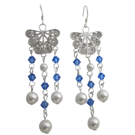 Swarovski White Pearl & Sapphire Crystals Oxidizied Dangling Earrings