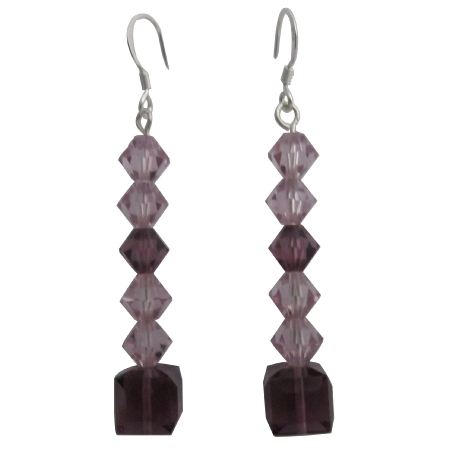 Swarovski Amethyst Crystals & Sterling Silver Earrings