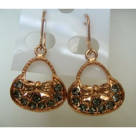 Trendy Classic Ethnic Classic Earrings Copper Gold Plated w/ Crystals