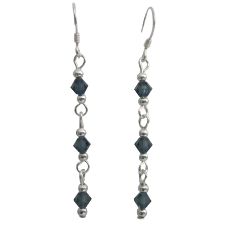 Sapphire Gorgeous Sterling Silver & Sapphire Crystals Earrings