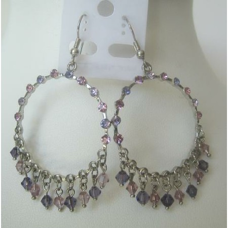 Amethyst & Pink Round Chandelier Dangling Crystals w/ Clip-On Earrings