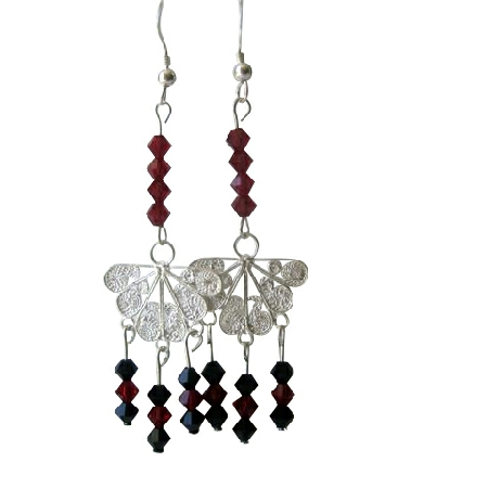 Dark Siam Red Crystals & Jet Swarovski Crystals Butterfly Chandelier