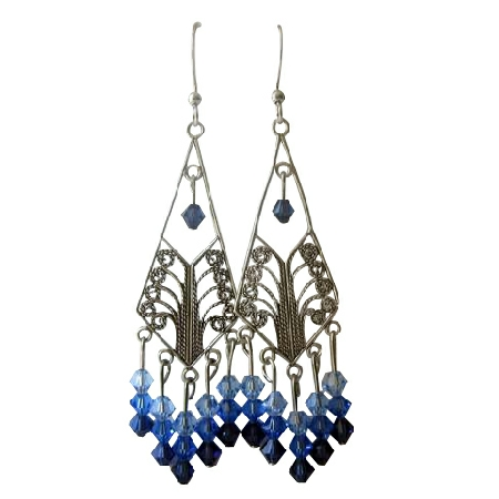 Chandelier w/ Swarovski 3 Different Sapphire Crystals Earrings