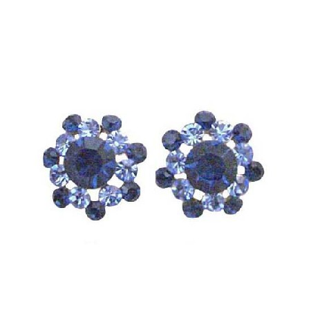 Round Surgical Post Aquamarine & Sapphire Crystal Pierced Earrings