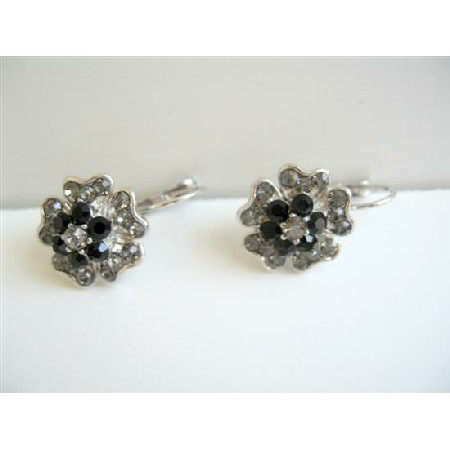 Black Crystals w/ Black Diamond Flower Petal Stud Pierced Earrings