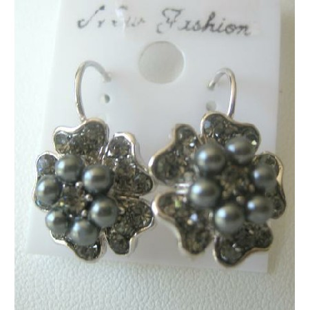 FLOWERS PEARL CENTERS Gray Pearls Flower Stud Pierced Earrings