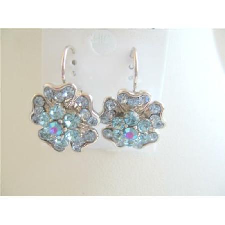 Elegant Aquamarine Crystals Spreal In Flower Pierced Earrings