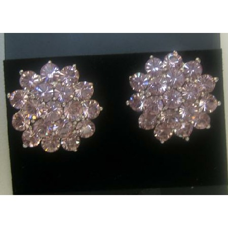 Crystals Pierced Stud Earrings Fully Dressed Up w/ Clear Crystals