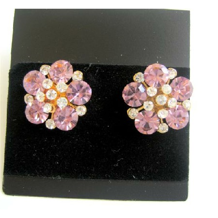 Flower Pierced Surgical Post Earrings Clear & Rose Pink Crystals