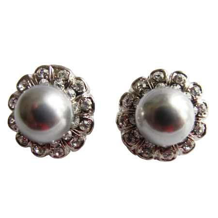 Cultured Round Grey Pearls Earrings w/ Surrounded Cubic Zircon