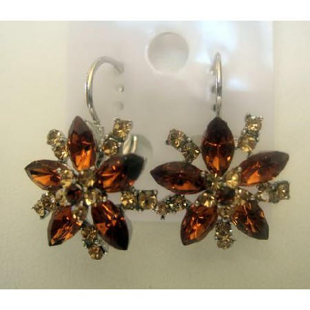 Swarovski Enameled Topaz Crystal Flower Petal Stud Pierced Earrings