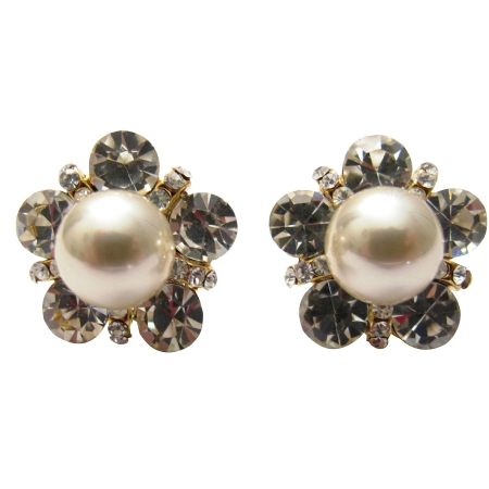 Stud Cultured Round Peach Pearl Surrounded with Cubic Zircon Earrings