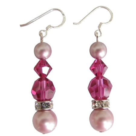 Swarovski Rose Pink Pearls & Fuchsia Crystals Silver Earrings