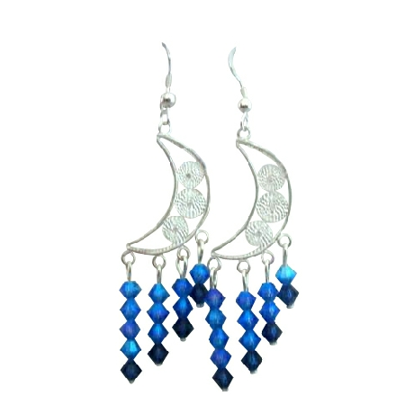 Half Moon Chandelier Earrings w/ Sapphire AB 2 X Beautiful Earrings