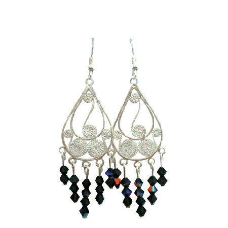 Black Crystal Chandelier Silver 92.5 Frame Swarovski Crystal Earrings