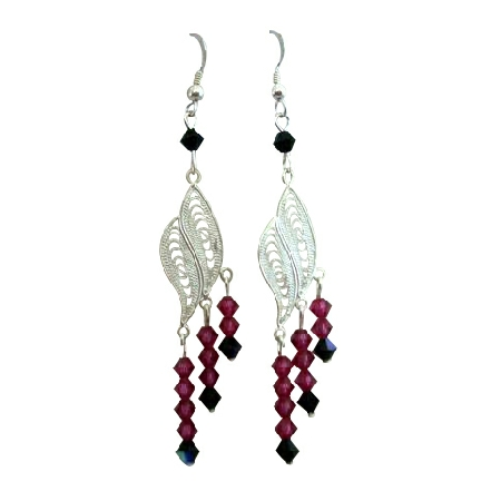 Swarovski Fuchsia & Jet Crystal & Silver Leaf Chandelier Earrings