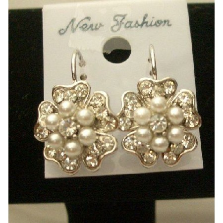 White Flowers Pearl Centers Stud Pierced Earrings