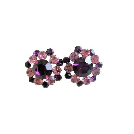 Amethyst Light & Dark Sparkling Crystals Vintage Round Pierced Earring